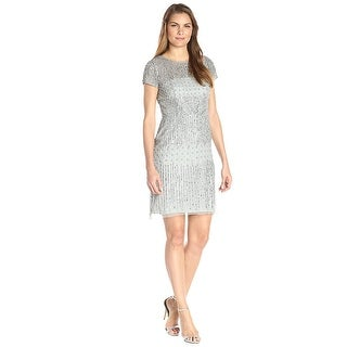 Adrianna Papell Pearl Beaded Illusion Sheath Cocktail Evening Dress - 10