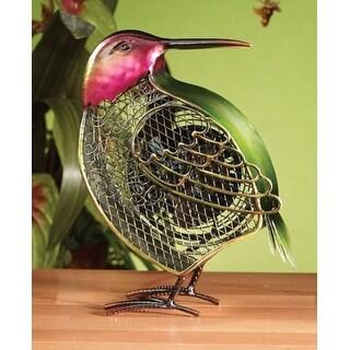 "11"" Hand Sculpted New World Bird Mini Table Top Figure Fan"