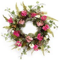 "Pack of 2 Pink and White Flowered Mixed Foliage Decorative Artificial Wreaths 24"" - Green"
