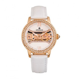 Empress Rania Mechanical Semi-Skeleton Leather-Band Watch - White
