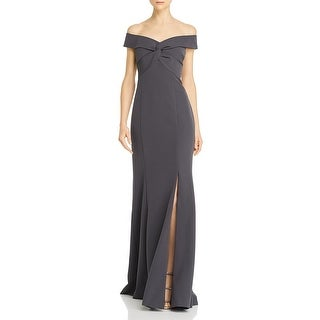 Aidan Mattox Womens Evening Dress Off-The-Shoulder Split Hem - Gun Metal
