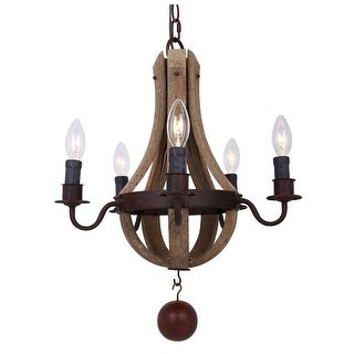 Rustic 16-inch Distressed Wood 5-Light Chandelier