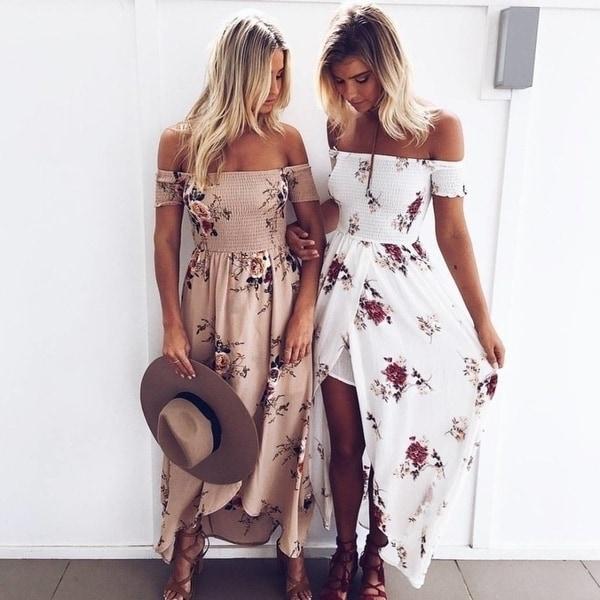 Boho Style Long Dress Women Off Shoulder Beach Summer Dresses Floral Print Vintage Chiffon White Maxi Dress Vestidos De. Opens flyout.