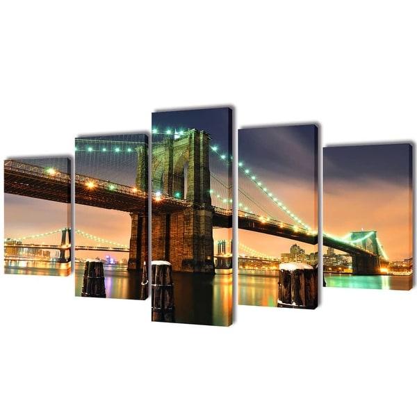 """vidaXL Canvas Wall Print Set Brooklyn Bridge 79"""" x 39"""""""