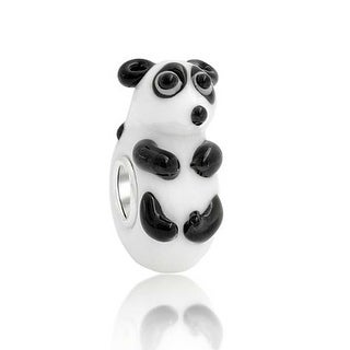 Bling Jewelry 925 Silver Lampwork Glass 3D Panda Bear Animal Bead Charm