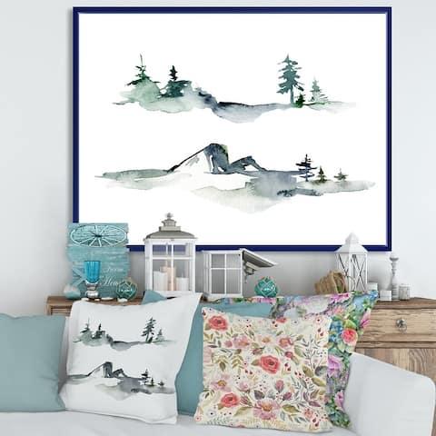Designart 'Winter Dark Blue Mountain Landscape With Trees I' Modern Framed Canvas Wall Art Print