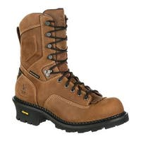 "Georgia Boot Men's GB00096 9"" CC Logger Waterproof Work Boot Brown Full Grain Leather"