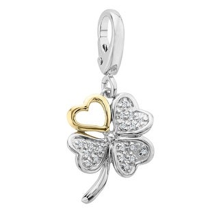 Four-Leaf Clover Charm with Diamond Accents in Sterling Silver & 14K Gold