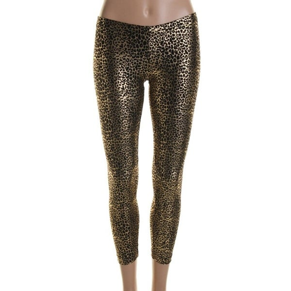 Hotsauce Style Womens Leggings Metallic Cheetah Print - S