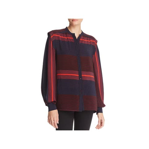 Joie Womens Button-Down Top Striped Adjustable Sleeves - XS