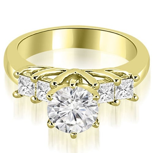 1.40 cttw. 14K Yellow Gold Princess and Round Cut Diamond Engagement Ring