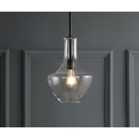 "Watts 10.5"" Glass/Metal LED Pendant, Oil Rubbed Bronze/Clear by JONATHAN Y"
