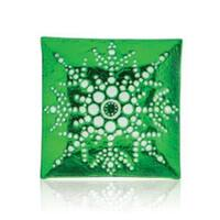 """13"""" Square Green Decorative Glass Christmas Plate with White Iridescent Snowflake Design"""