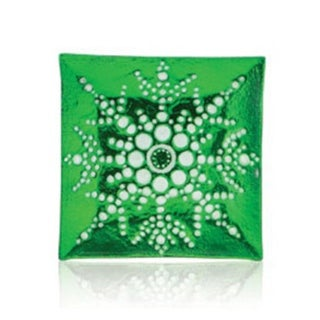 """6.5"""" Square Green Decorative Glass Christmas Plate with White Iridescent Snowflake Design"""