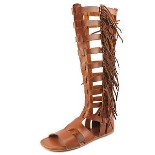 Mia Donata Women Open Toe Synthetic Tan Gladiator Sandal