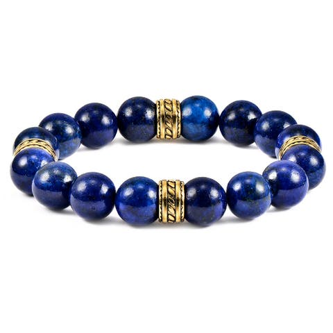 Natural Stone Gold Plated Steel Accents Beaded Stretch Bracelet (12mm)