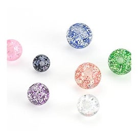10 Piece Pack of Super Glitter UV Acrylic Replacement Ball - 14GA (6mm Ball)