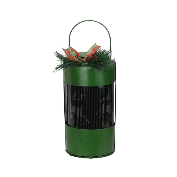 "10"" Green and Black Animated Holographic Reindeer Christmas Lantern with Timer - N/A"