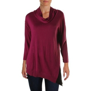 Avec Womens Knit Contrast Trim Pullover Sweater