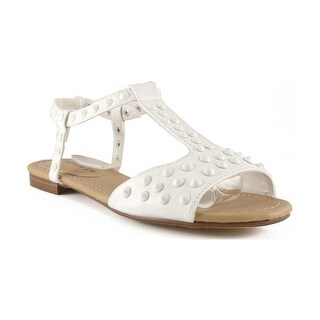 Breckelles Women Ester-16 T-Strap Spike Sandals - White