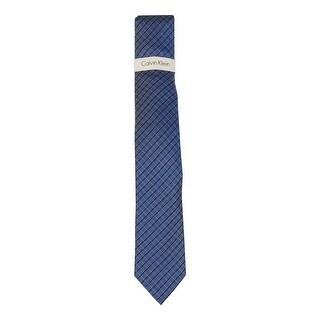 Calvin Klein Men's 'University Grid' Skinny Tie (Navy, OS) - os