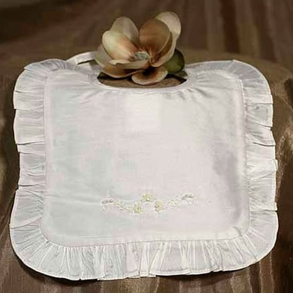 Little Things Mean A Lot Baby Off White Silk Bib Baptism Beaded Ruffle