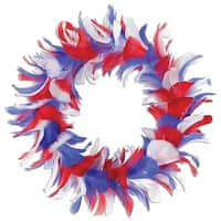 Pack of 6 Red White and Blue Patriotic Decorative Party Feather Wreath 12""