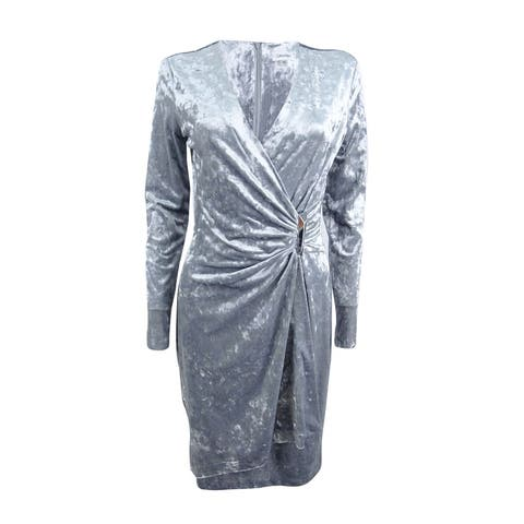 Calvin Klein Women's Velvet Faux-Wrap Dress