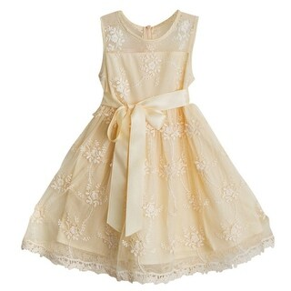 Think Pink Bows Baby Girls Champagne Sash Lace Lizzie Christmas Dress 6-12M