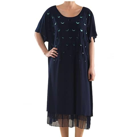 Knit Dress with Laser Cut-Outs - Plus Size Clothing - La Mouette Collection