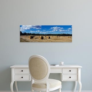 Easy Art Prints Panoramic Images's 'Straw rolls in field, Sweden' Premium Canvas Art