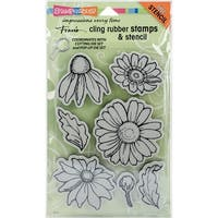 Stampendous Cling Stamps & Stencil Set-Daisy Mix