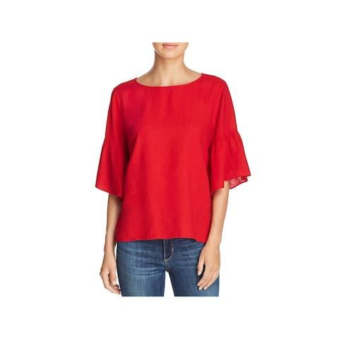 Nic + Zoe Womens Rumba Blouse Linen Bell Sleeve