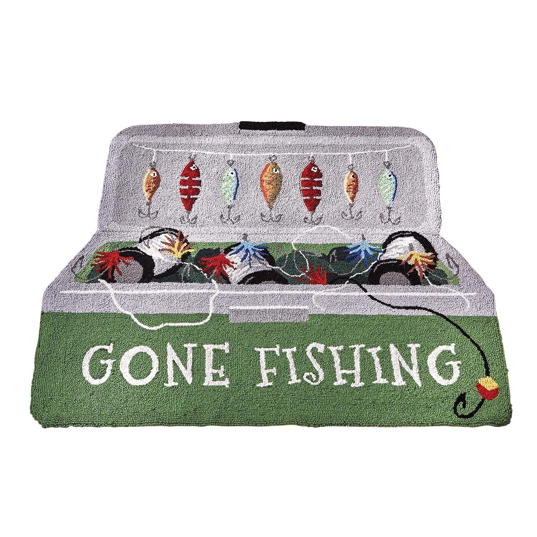 Peking Handicraft Gone Fishing Welcome Mat – Tackle Box Accent Rug Doormat, 36″ x 20″ – 36 in. x 20 in.