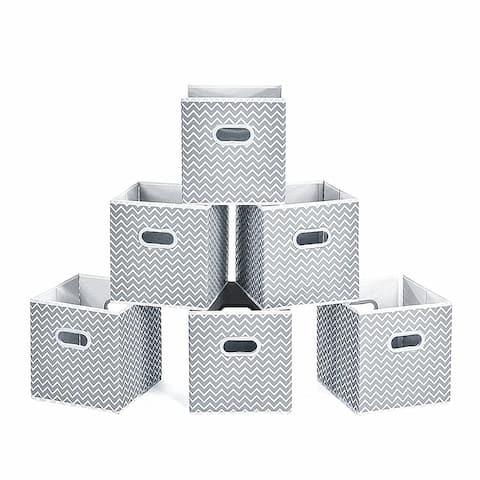 Enova Home Fabric Storage Bins With Handles (Set of 6) - N/A