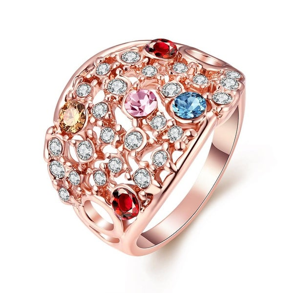 Rose Gold Plated Rainbow Multi-Color Ring
