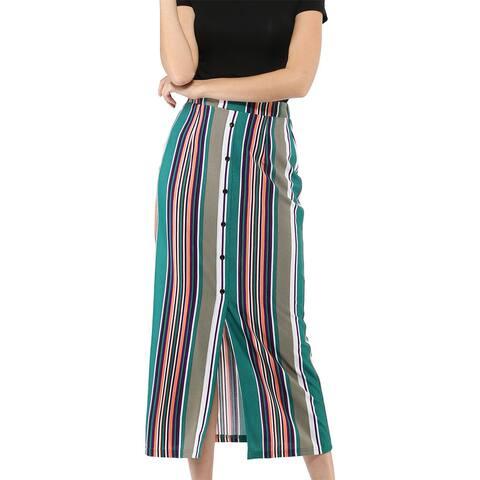 Allegra K Women Decorative Buttons Front Slit Hem Striped Maxi Skirt
