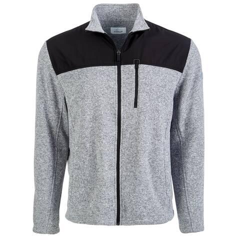 Greg Norman Mens Golf Sweater Heather Gray Black Small S Fleece Full-Zip