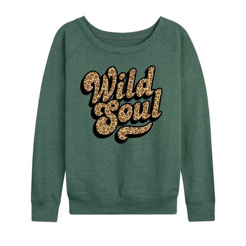 Wild Soul Leopard Print - Women's Lightweight French Terry Pullover