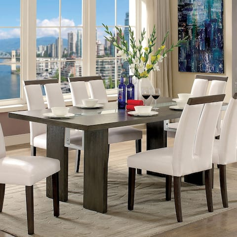 Furniture of America Lumina Contemporary Glass-Insert Dining Table