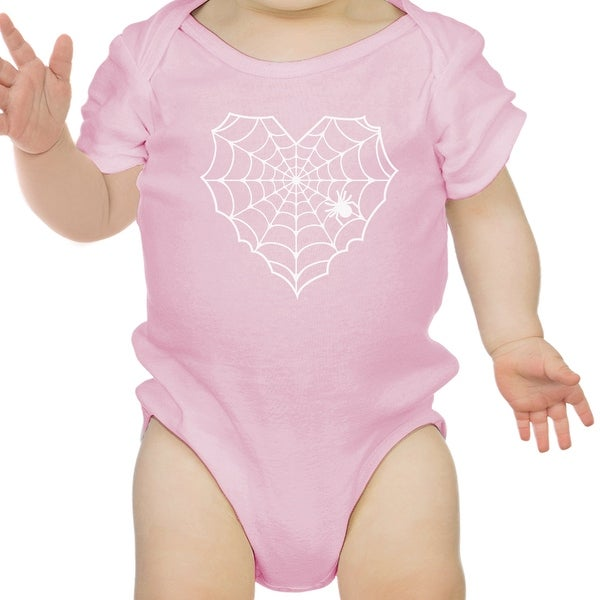 Heart Spider Web Baby Halloween Bodysuit Pink Cotton Infant Bodysuit