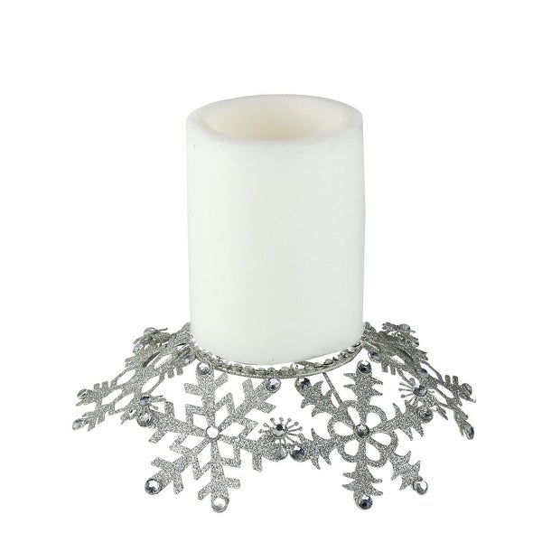 """9"""" Silver Snowflake Glittered and Jeweled Christmas Pillar Candle Holder"""