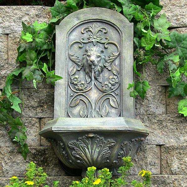 Sunnydaze Decorative Lion Solar Wall Fountain