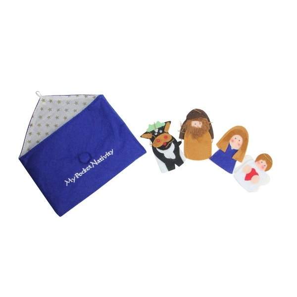 5-Piece My Pocket Nativity Religious Christmas Finger Puppet Set - BLue