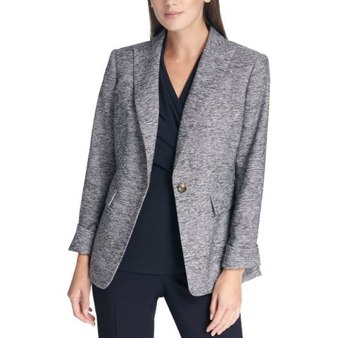 DKNY Women's Jacket Gray Size 12 Cuffed Marled Blazer Single Button