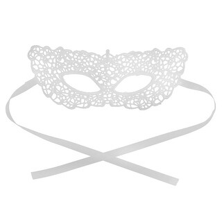 Women Masquerade Costume Fancy Halloween Dress Eyemask Lace Eye Mask White