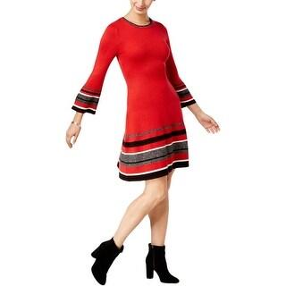 Jessica Howard Womens Petites Sweaterdress Office Wear Bell Sleeves