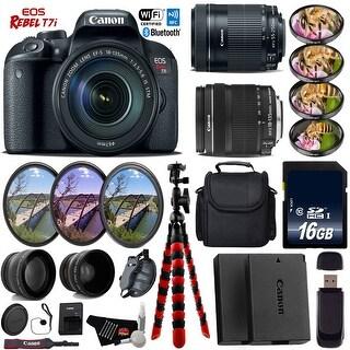 Canon EOS Rebel T7i DSLR Camera + 18-135mm STM Lens & 55-250mm IS STM Lens + Tripod + Card Reader- Intl Model