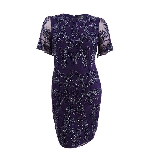 10ea747236a Shop Adrianna Papell Women s Plus Size Beaded Sheath Cocktail Dress (14W