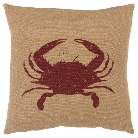 "Rizzy Home Red Crab 20""X 20"" Decorative Pillow"